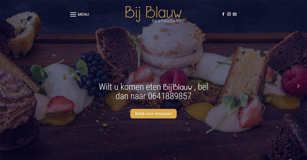Restaurant Bij Blauw te Wageningen, webdesign door Esmy Media Design te Tiel