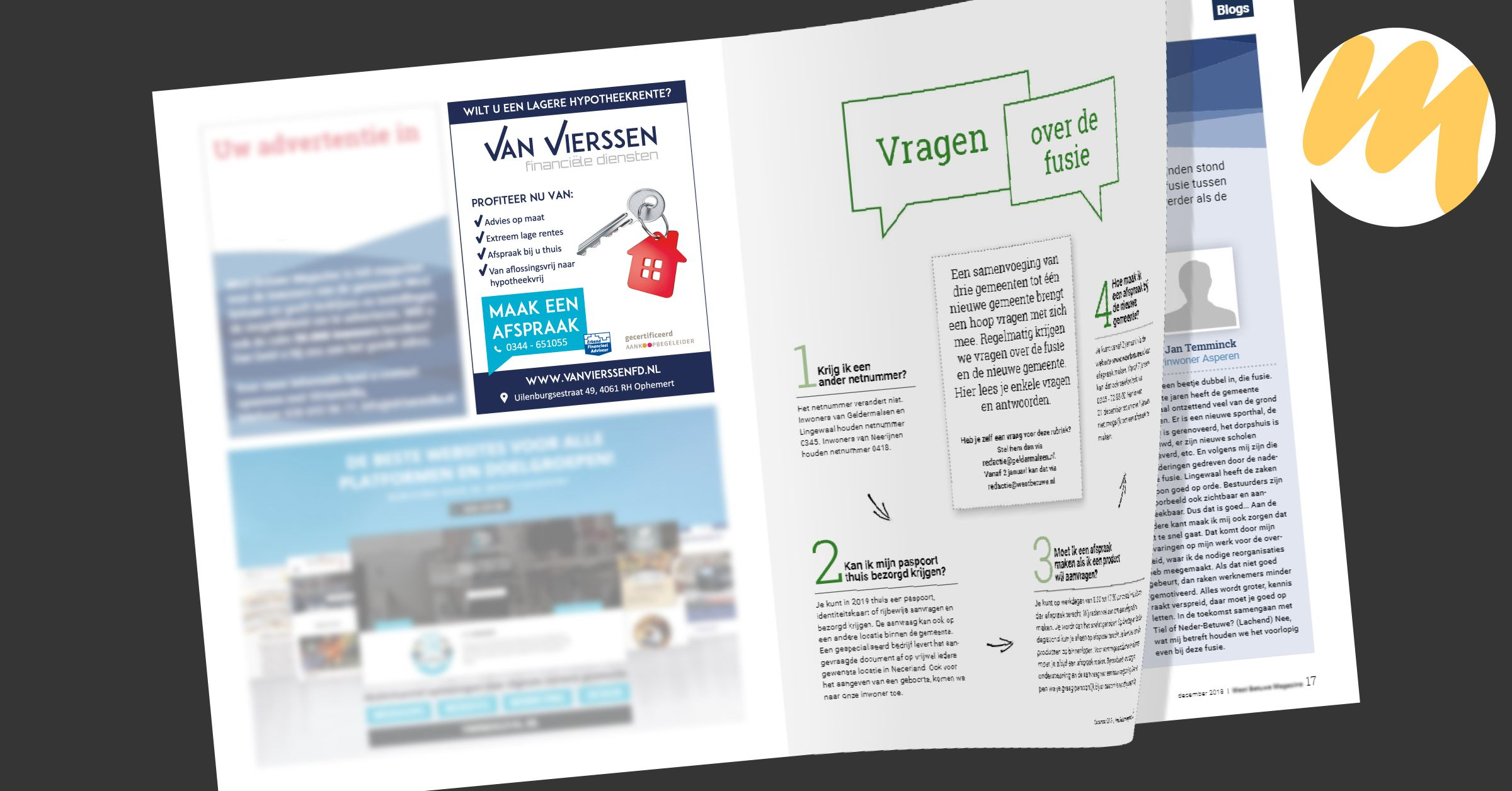 Van Vierssen Financiële Diensten | Advertentie magazine door Esmy Media Design voor al uw grafisch ontwerp te Tiel
