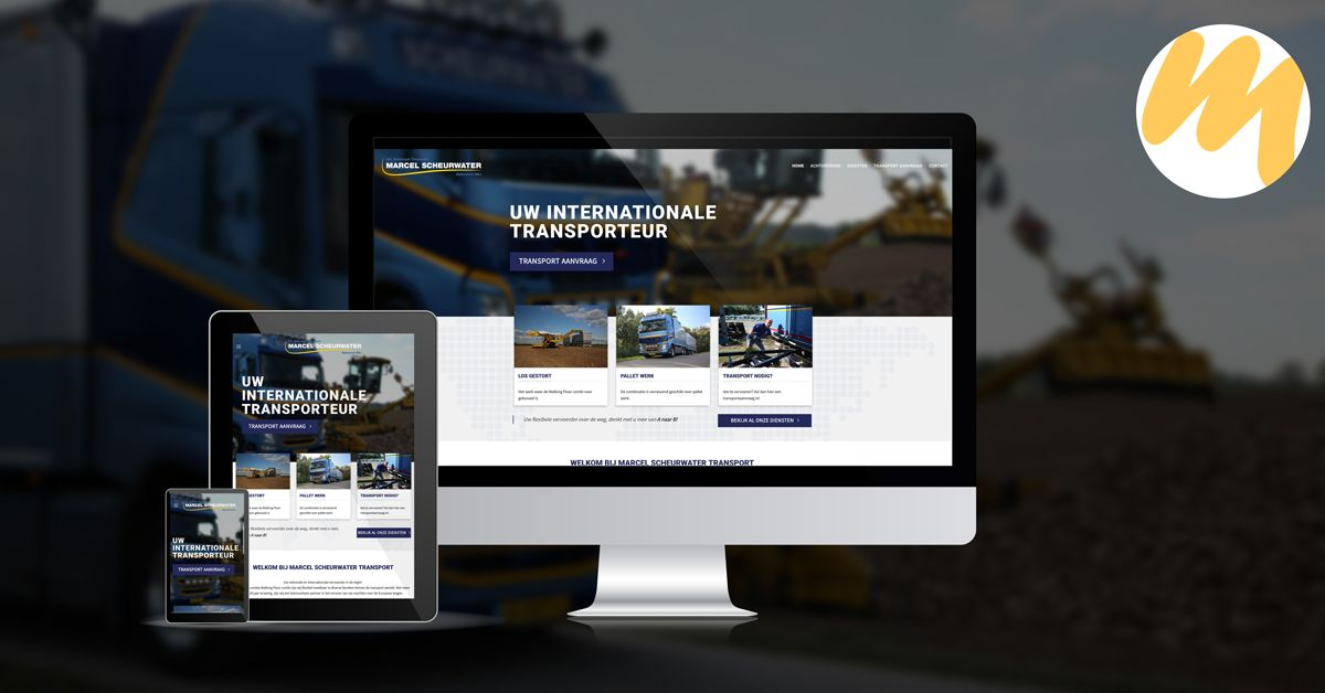 Webdesign Tiel | Marcel Scheurwater Transport | Grafisch Ontwerp door Esmy Media Design | Webdesign Ophemert
