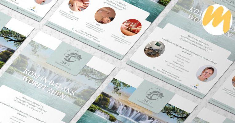 Zhen Chinese Geneeswijze, flyer ontwerp, grafisch design, Esmy Media Design Betuwe, Gelderland, Webdesign Tiel, Wadenoijen