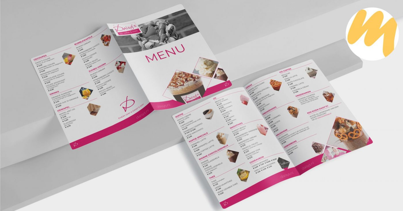 Menukaart voor Ijssalon Daisys's te Tiel | Grafisch design - Esmy Media Design| Webdesign Tiel