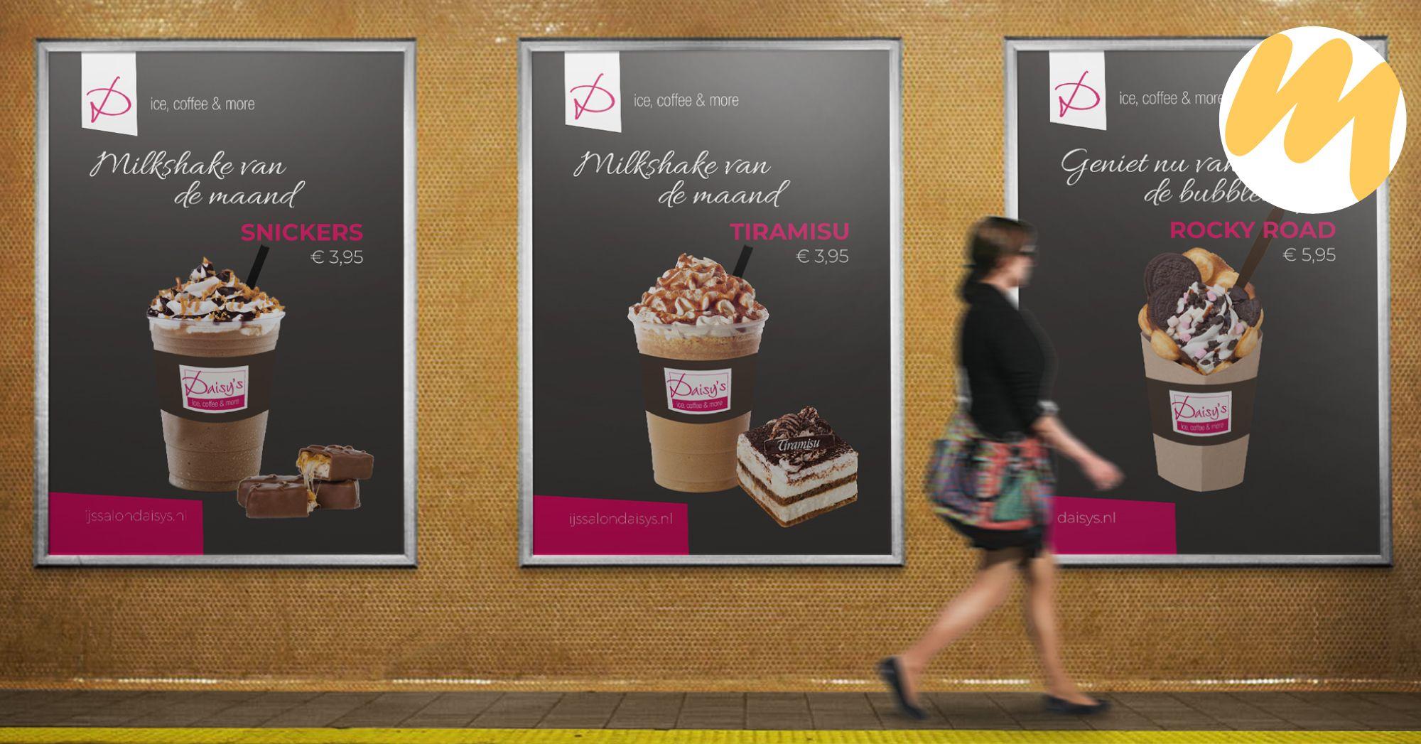 Diverse posters voor Ijssalon Daisys's te Tiel | Grafisch design - Esmy Media Design | Webdesign Tiel
