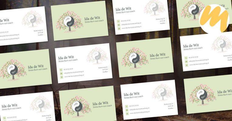 Visitekaartjes | Ida de Wit | Stress burn-out coach, logo ontwerp, grafisch design, Esmy Media Design Betuwe, Haaften, Gelderland, Tiel