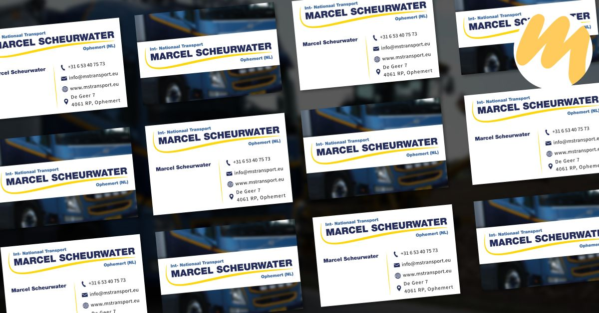 Visitekaartjes | Marcel Scheurwater Transport | Grafisch Ontwerp door Esmy Media Design | Webdesign Tiel