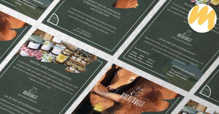 Flyers | BoerenBeef te Nieuw Balinge, Drenthe | Huisstijl en grafisch ontwerp door Esmy Media Design