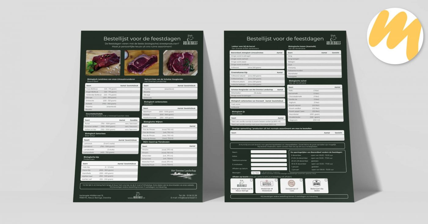Bestellijst | BoerenBeef te Nieuw Balinge, Drenthe | Huisstijl en grafisch ontwerp door Esmy Media Design