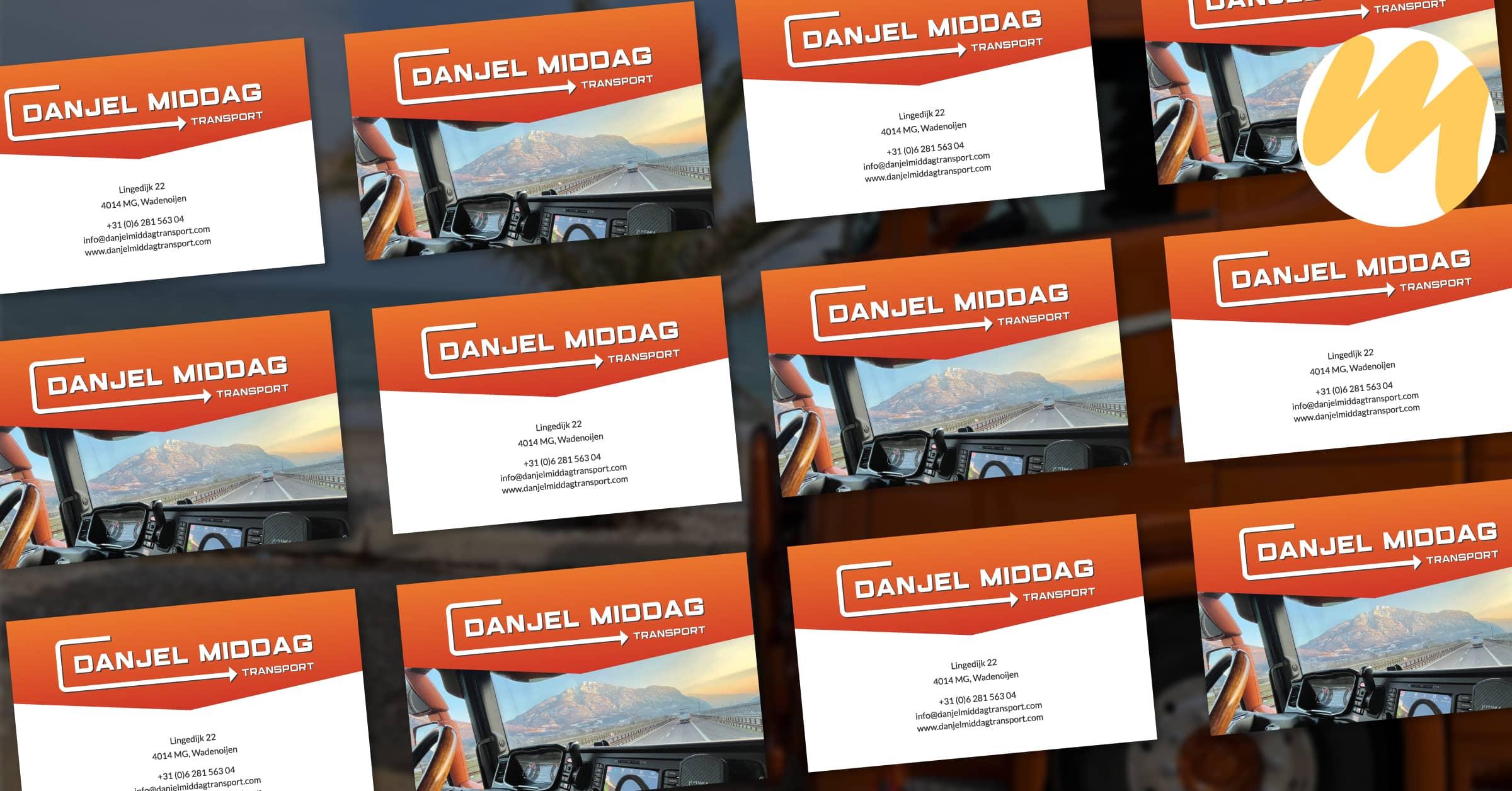 Visitekaartjes Tiel | Danjel Middag Transport Waddenoijen, logo ontwerp, grafisch design, Esmy Media Design Betuwe, Webdesign Gelderland