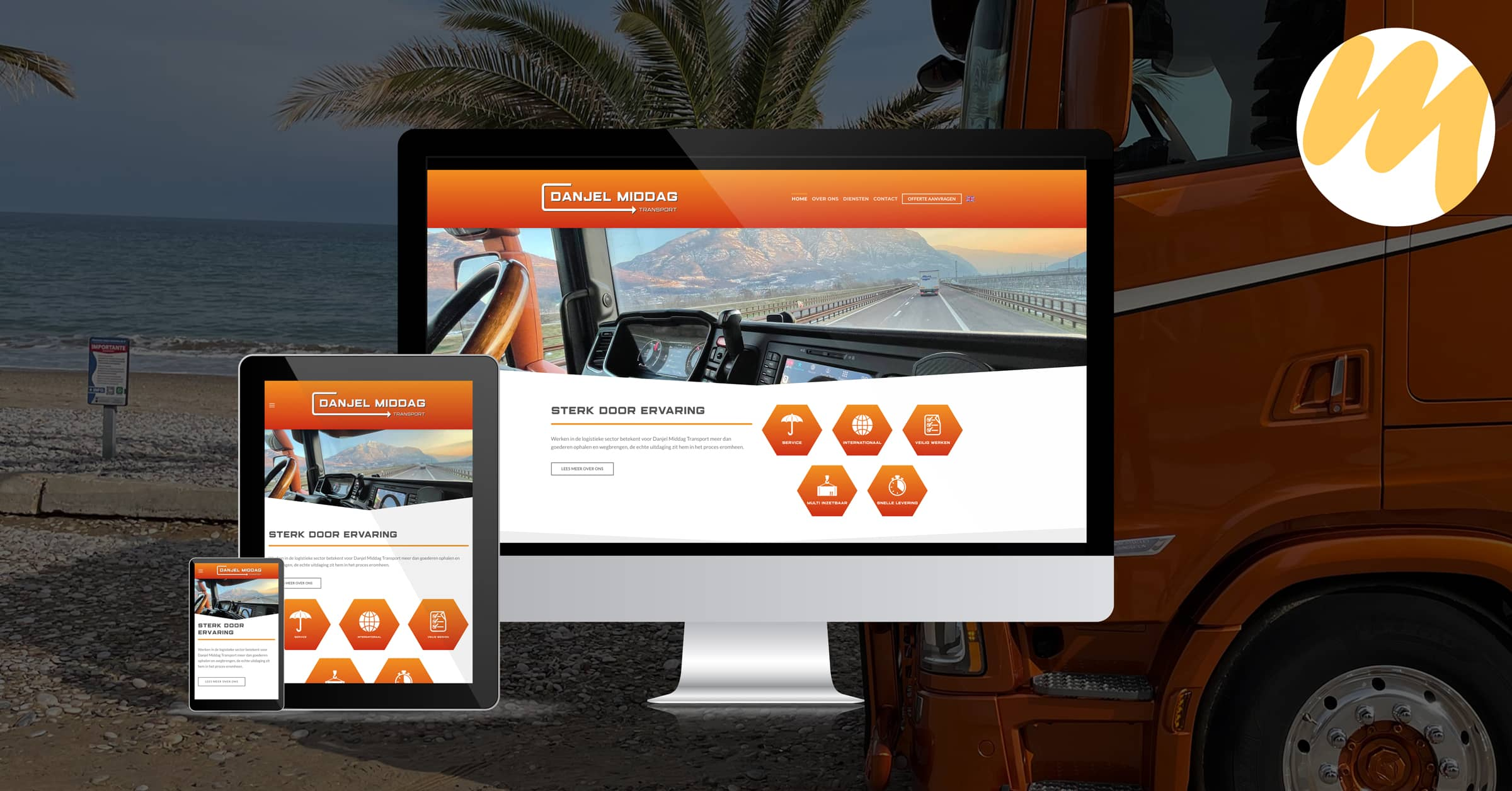 Webdesign Tiel | Danjel Middag Transport Waddenoijen, logo ontwerp, grafisch design, Esmy Media Design Betuwe, Webdesign Gelderland